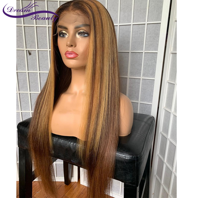 13x6 Blonde Lace Front Wigs Highlight Lace Frontal Wig Brazilian Straight Remy Lace Front Human Wigs Pre Plucked Dream Beauty