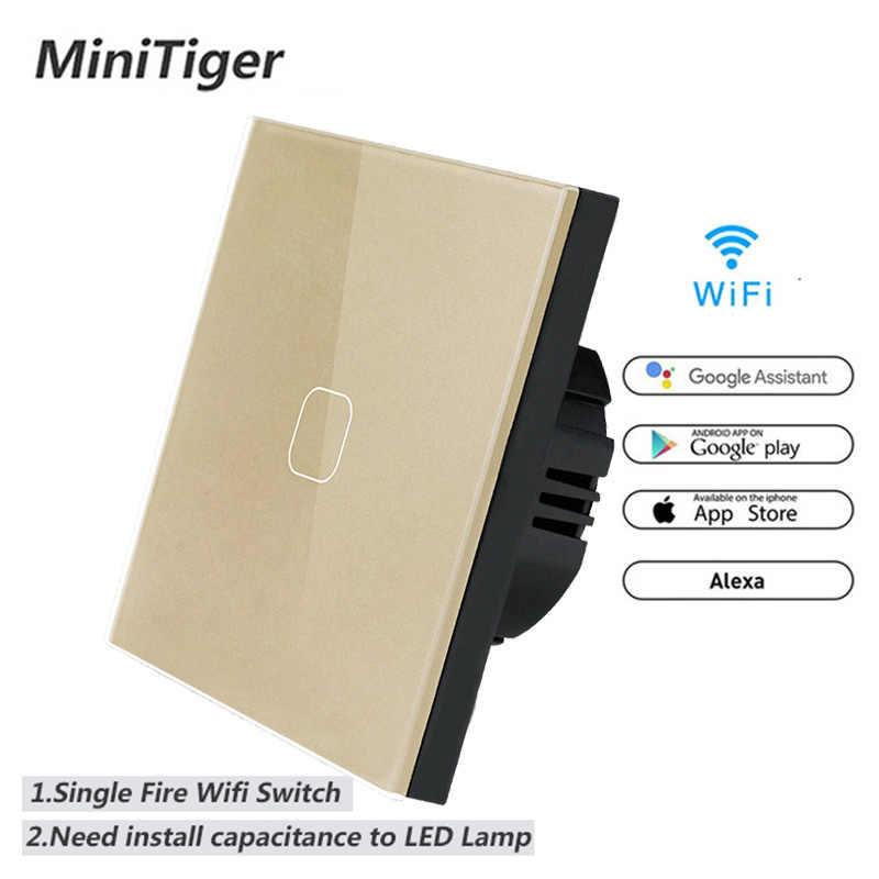Minitiger EU/UK WIFI Smart Touch Switch APP Wireless Remote Light Wall Switch Crystal Glass Panel Work With Alexa / Google Home