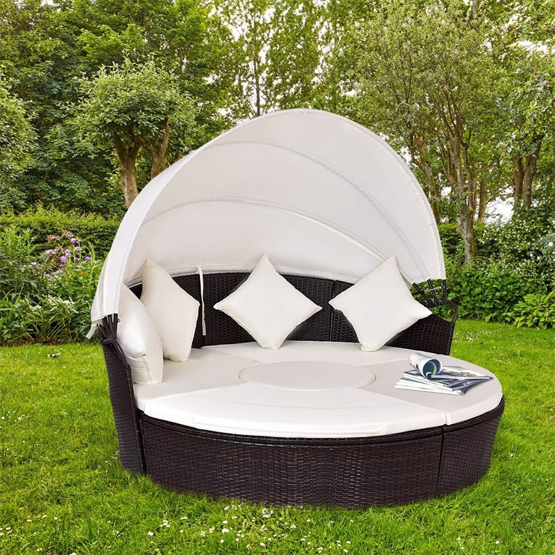 2-in-1 Outdoor Round Rattan Canopy Cushioned Furniture Set Water-proof Garden Sets Patio Daybed Sofa Set HW54808+