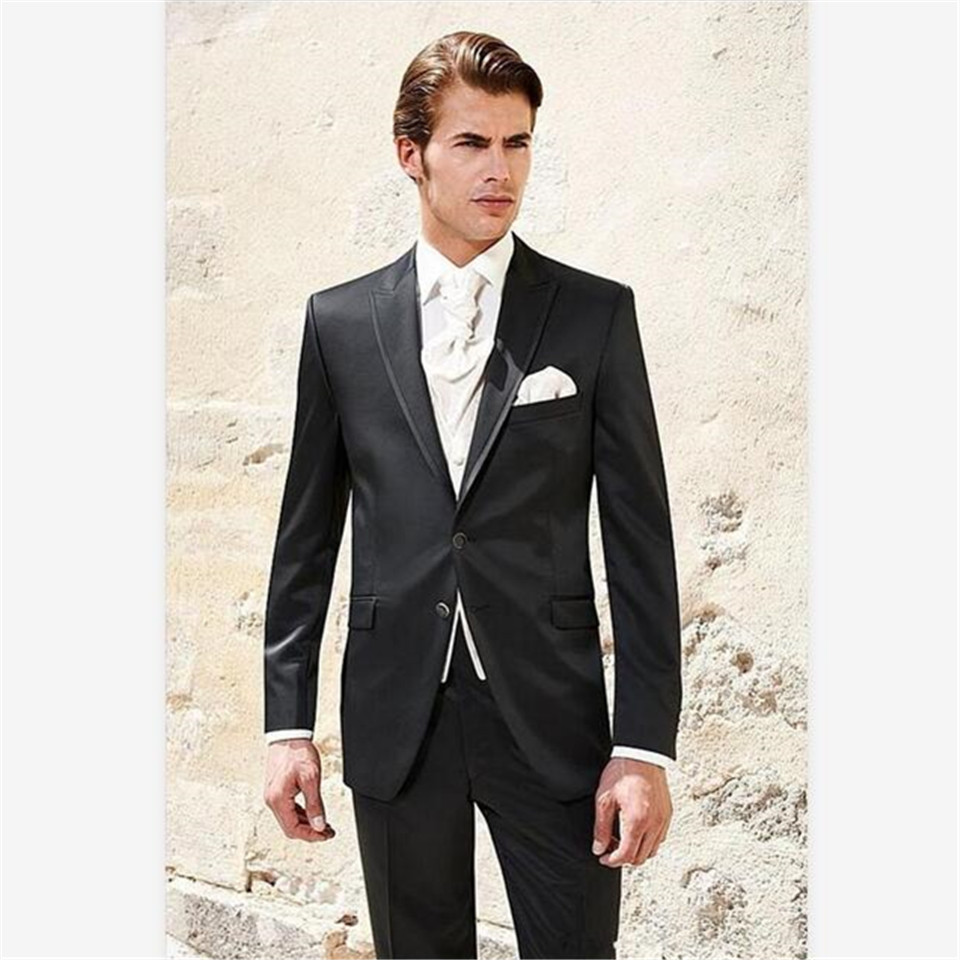 New Classic Men's Suit Smolking Noivo Terno Slim Fit Easculino Evening Suits For Men Groom Tuxedos Black Groomsmen Peaked Lapel