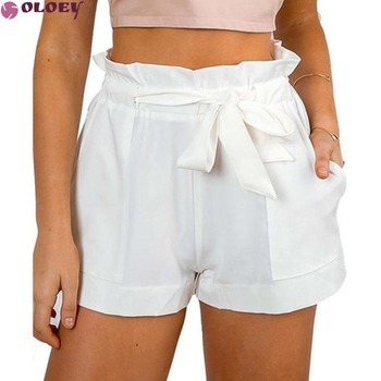 Summer Sexy High Waist Shorts Women Casual Solid Bow Short Beach Black White Shorts Trousers Mujer Feminino 2