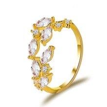 New Crystal Leaves Flower branch leaf Adjustable Finger Wedding Rings for Women Rose Gold Zircon Open Ring Girls  Jewelry  Gift