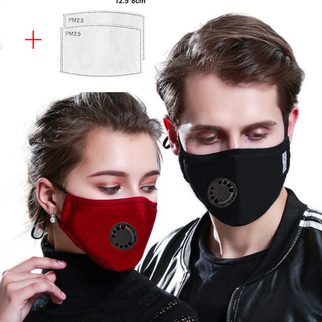 PM2.5 Black mouth Mask anti dust mask Activated carbon filter Windproof Mouth-muffle bacteria proof Flu Face mask Care s