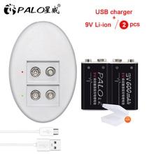 цена на 9V 6F22 rechargeable battery 600mAh li-ion batteries and 9V battery USB charger