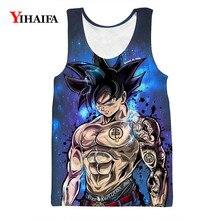 Mens Tank Top Summer Vest 3D Print Dragon Ball Z Hipster Goku Cartoon Sleeveless Unisex Anime Casual Tops