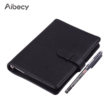 Cuaderno inteligente borrable y reutilizable, libreta de notas de cuero de hoja suelta, tamaño A6, 50 hojas
