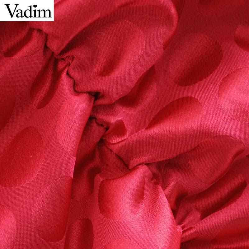 Vadim Nữ Thanh Lịch Cổ V Mini Dây Kéo Sau Lưng Đèn Lồng Tay Xếp Ly Nữ Thời Trang Công Sở Đeo Sang Trọng Áo Vestidos QD043