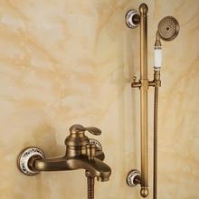 פליז עתיק ברונזה סיים קיר רכוב ידית אחת אמבטיה מקלחת מיקסר סט מים ברז torneira chuveiro ducha