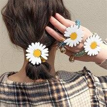 1Pcs Women Girls White Floral Hair Tie Striped Lady Scrunchi