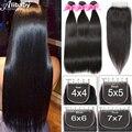 Alibaby перуанский прямые волосы 3 пряди Remy Пряди человеческих волос для наращивания с 4*4 Кружева Закрытие двойной уточно-настилочно переплете...