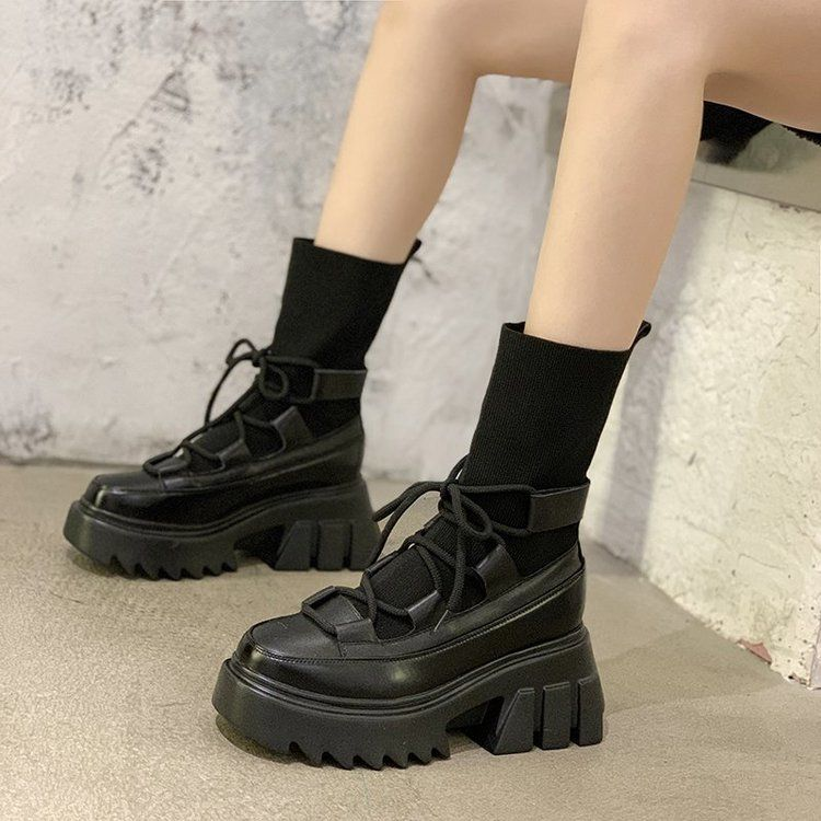 2020 Winter Woman Fashion Sock Boots New Ankle Boots Ulzzang Platform Boots Women's Round Toe Shoes Women Thick Sole Boots Black