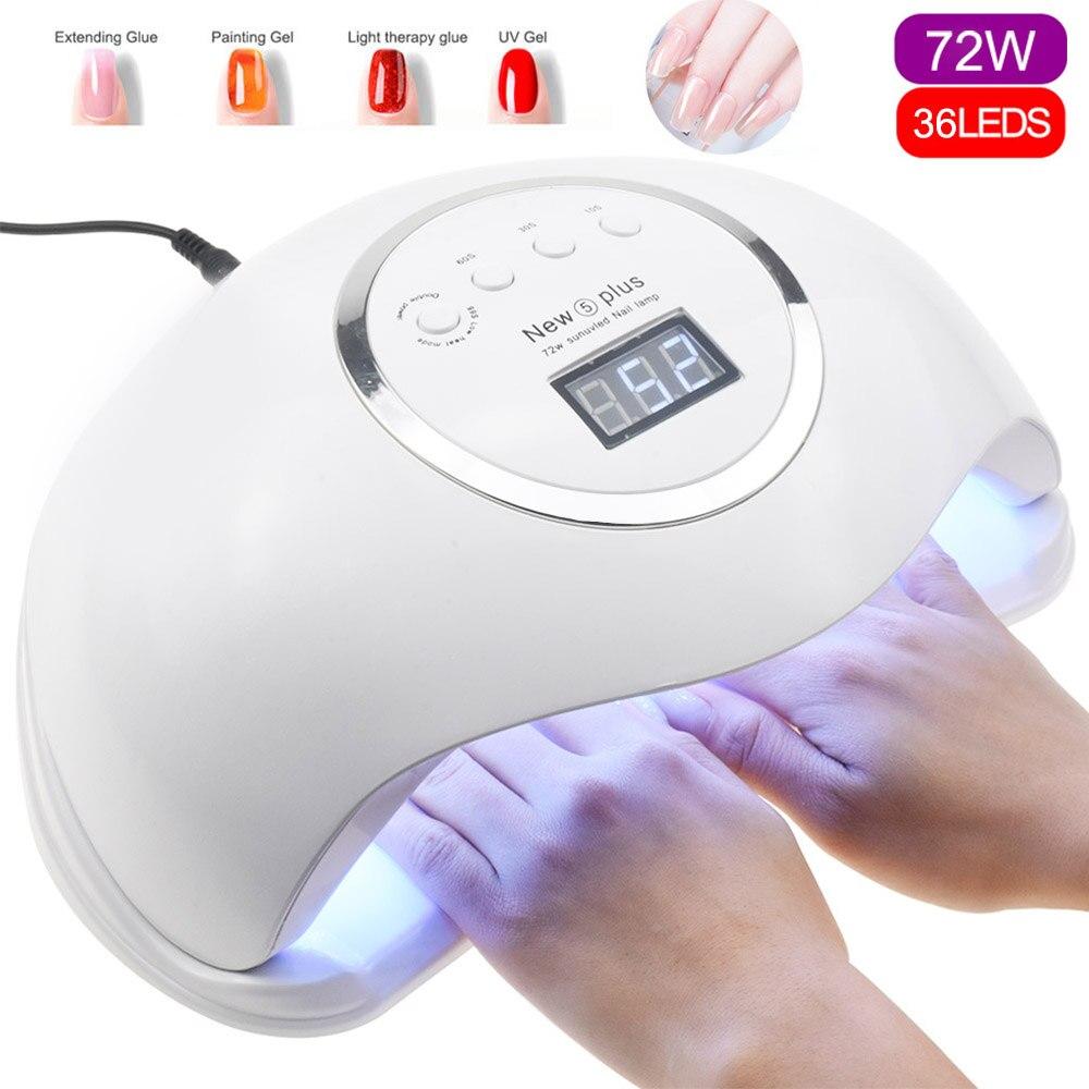 72W NEUE 5 Plus UV Lampe LED Nagel Lampe Nagel Trockner Für Alle Gele Polnisch Sonne Licht lampa led maniküre Infrarot Sensing Timer Smart