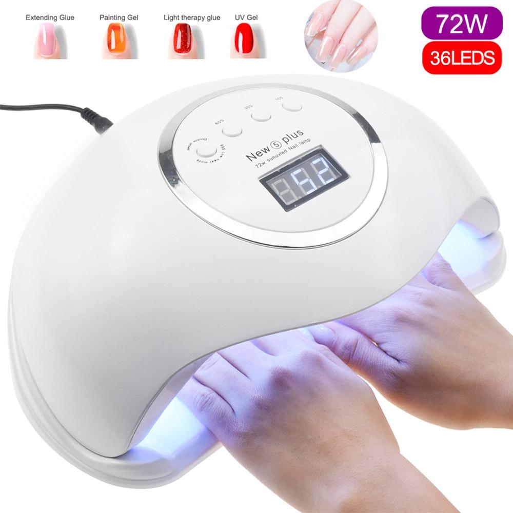 72W NEW 5 Plus UV Lamp LED Nail Lamp Nail Dryer For All Gels Polish Sun Light Lampa Led Manicure Infrared Sensing Timer Smart