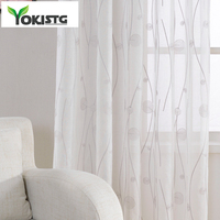 YokiSTG 수 놓은 깎아 지른 커튼 거실 침실 추상 패턴 Tulle 주방 창 치료 커튼 커튼