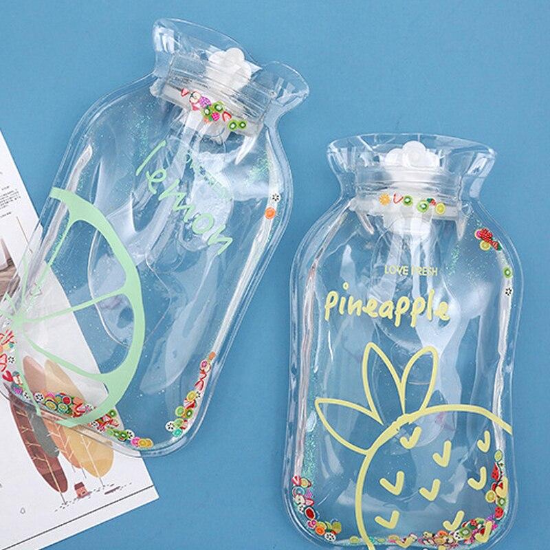 Nuevas botellas transparentes de agua caliente, botella de agua caliente de mano de dibujos animados, Mini calentador de manos a prueba de explosiones, bolsa de almacenamiento de inyección de agua