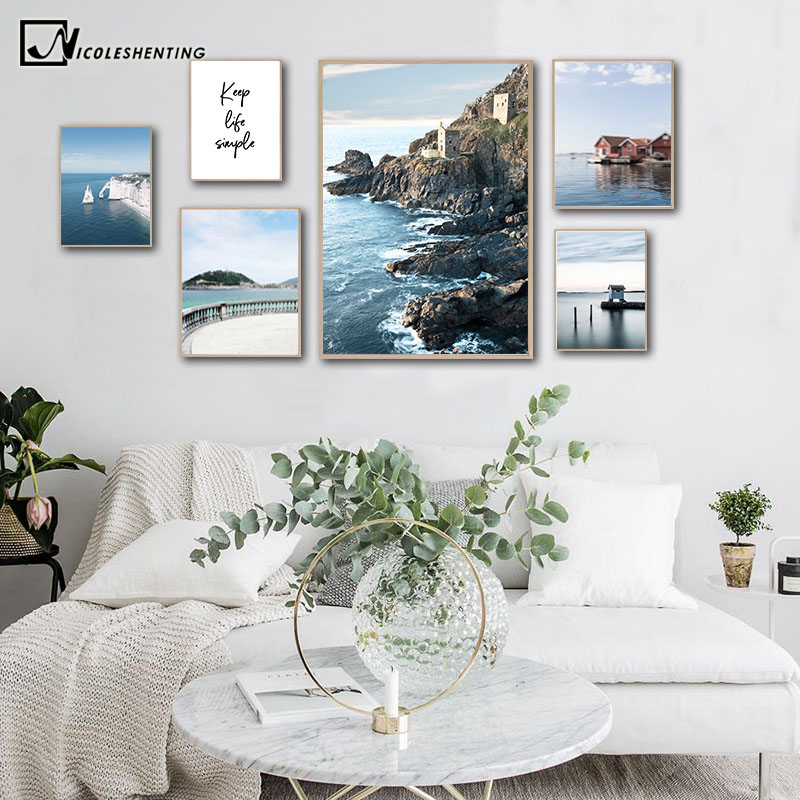 Coastal Ocean Picture Nature Scandinavian Poster Nordic Life Quotes Print Wall Art Canvas Painting Travel Landscape Famous Place image