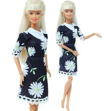 Bambola fatta a mano Della Principessa di Modo del Vestito Nero Daisy Modello di Fiore Abito Gonna di Pizzo Datiing Usura Vestiti per la Bambola di Barbie 12 ''giocattolo