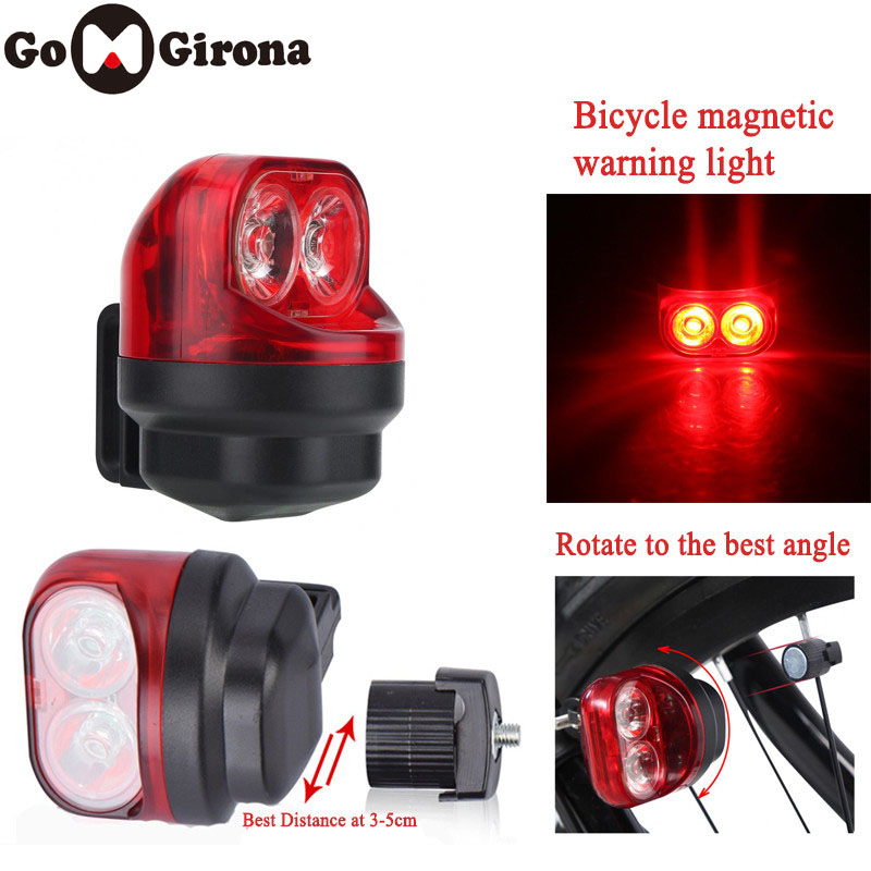 GOMGIRONA Magnetic Induction Riding Warning Mountain Bike Light Cycling Rear Front Tail Wheel Light With Holder Bike Accessory