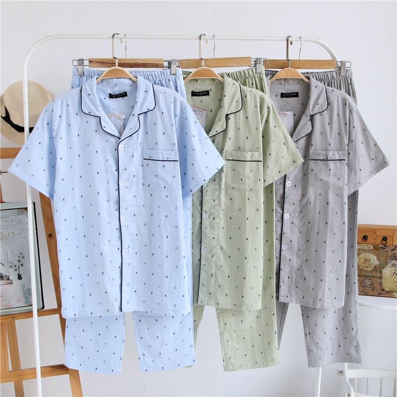 2PCS Sleepwear Men Pajamas Cotton Gauze Shirt&Pants Kimono Bathrobe Gown Print Sleep Suit Pyjamas Casual Intimate Lingerie