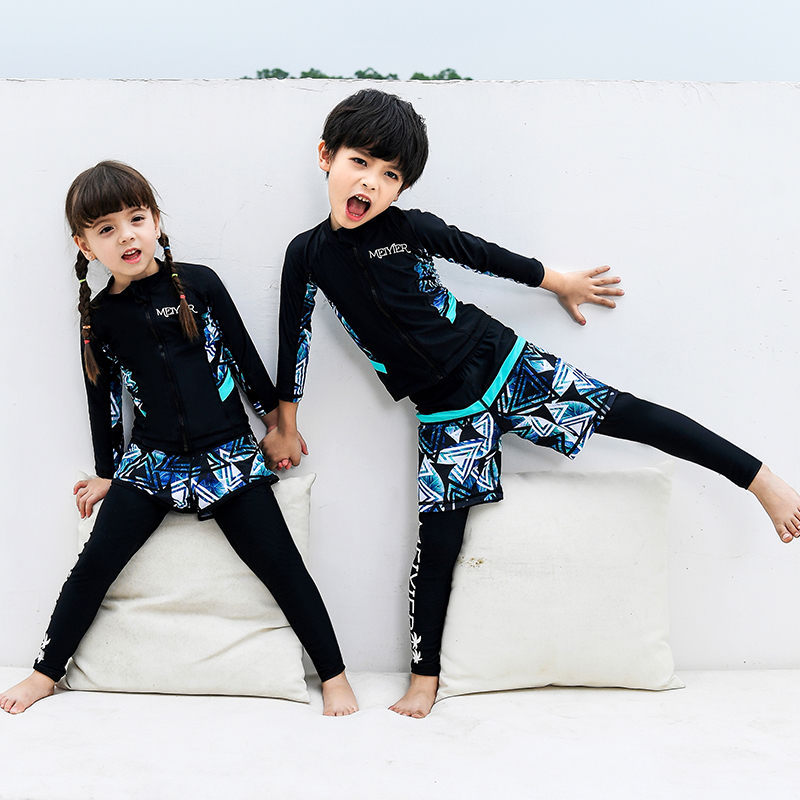 New Style Children Men And Women Children Long Sleeve Sun-resistant Quick-Drying Split Type Swimsuit Diving Suit Sports Swimwear