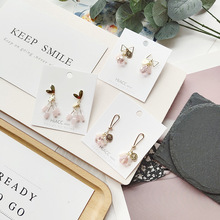 Korean Pink Crystal Bow Knot Heart Sweet Cute Princess 2019 New Dangle Drop Earrings For Woman Girls Fashion Jewelry-JQD5-W1