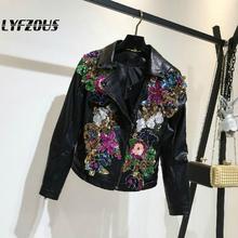 Women Short Pu Leather Jacket Coats New Fashion Colourful Sequins Diamonds Slim
