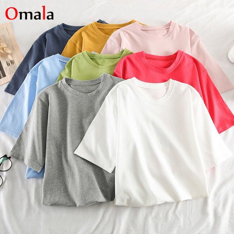Summer Candy Colors Graphic Tees Women Ulzzang Short Sleeve T Shirt Korean Kawaii Solid T-shirts Harajuku Casual O-neck Crop Top