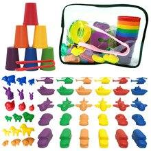 1 conjunto bebê contagem animal & transporte com empilhamento copo clipe montessori arco-íris jogo de correspondência educação digital cor triagem brinquedo