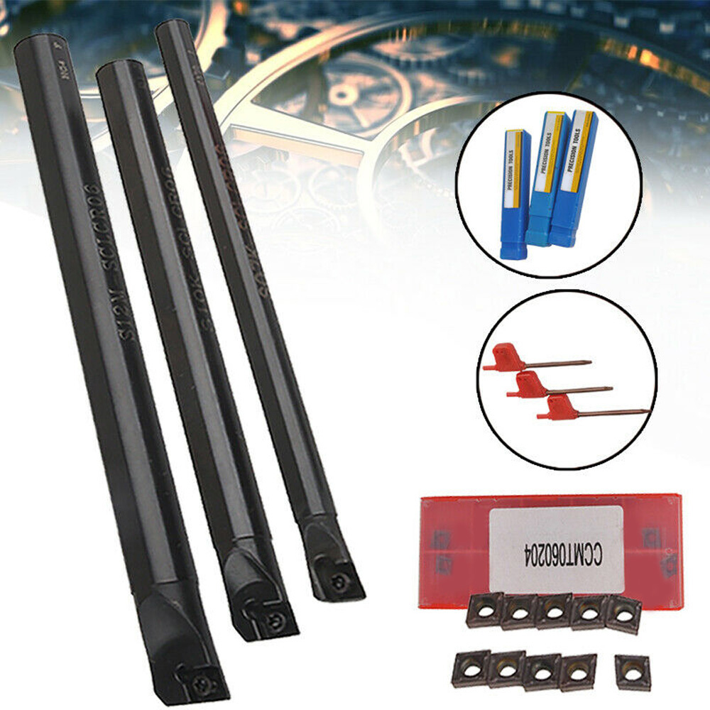 3pcs Made Of High Quality Material,  SCLCR Lathe Boring Bar Holder +10pcs CCMT0602 Carbide Insert + 3pcs Wrench