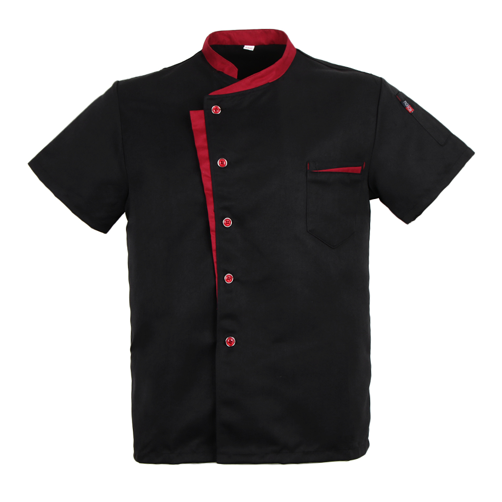 4XL Large Size Unisex Chef Jacket Coat Black Short Sleeves Shirt Hotel Kitchen Uniform Bakery And Restaurant Worker Wear