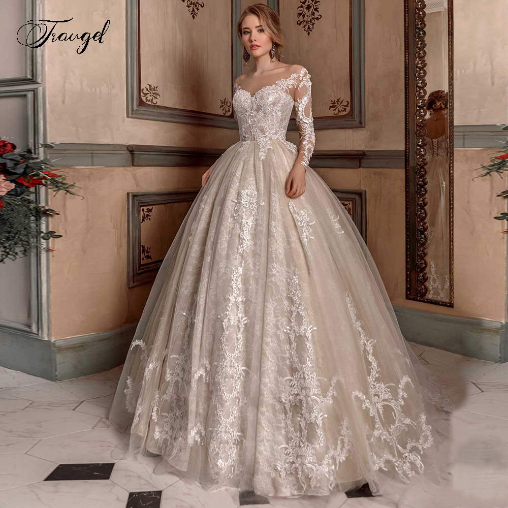 Traugel Luxury Scoop Ball Gown Lace Wedding Dresses Delicate Applique Long Sleeve Bride Dress Chapel Train Bridal Gown Plus Size