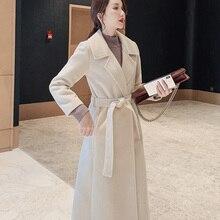 Women Elegant Winter Overcoat Bandage Woolen Long Coat Cardi