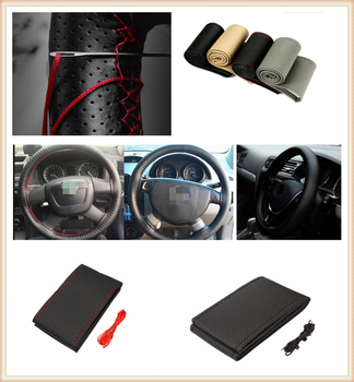 Car DIY Braided Hand Sewing Steering Wheel Cover S M L Code Auto Parts for BMW E34 F10 F20 E92 E38 E91 E53 E70 X5 M M3 image