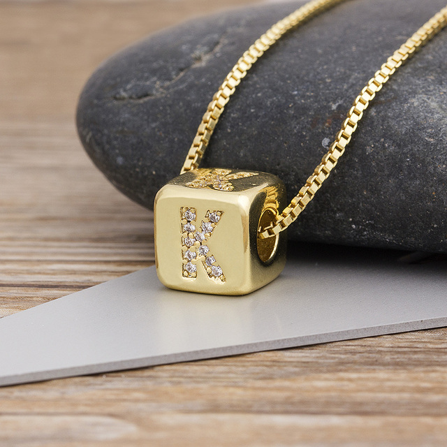 2020 Hot Sale A-Z Initials Micro Pave Copper CZ Cube Letter Pendant Necklaces For Women Men Charm Chain Family Name Jewelry Gift 4
