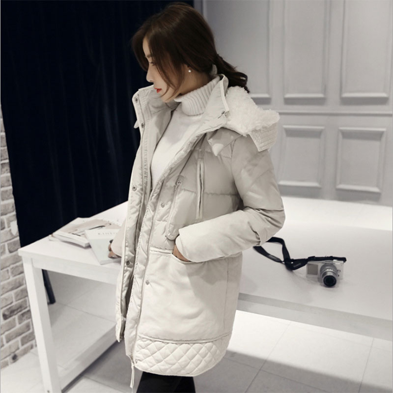 Diwish White Duck   Down   Jacket Women Hooded Long Warm Thick Flocking Feather   Coat   Plus Size 2019 Ladies Casual Snow Outwear