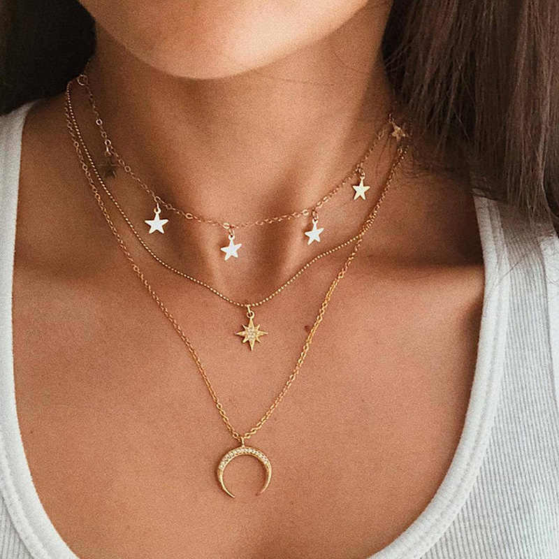 X & P Vintage Multilayer Crystal Pendant Kalung Wanita Emas Warna Manik-manik Bulan Bintang Horn Crescent Kalung Kalung Perhiasan Baru