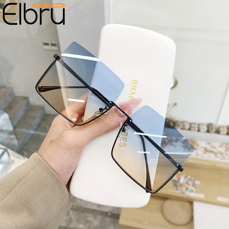 Elbru New Fashion Lady Oversize Half Frame Metal Square Sunglasses Women Luxury Eyewear oculos de sol feminino Sun Glasses