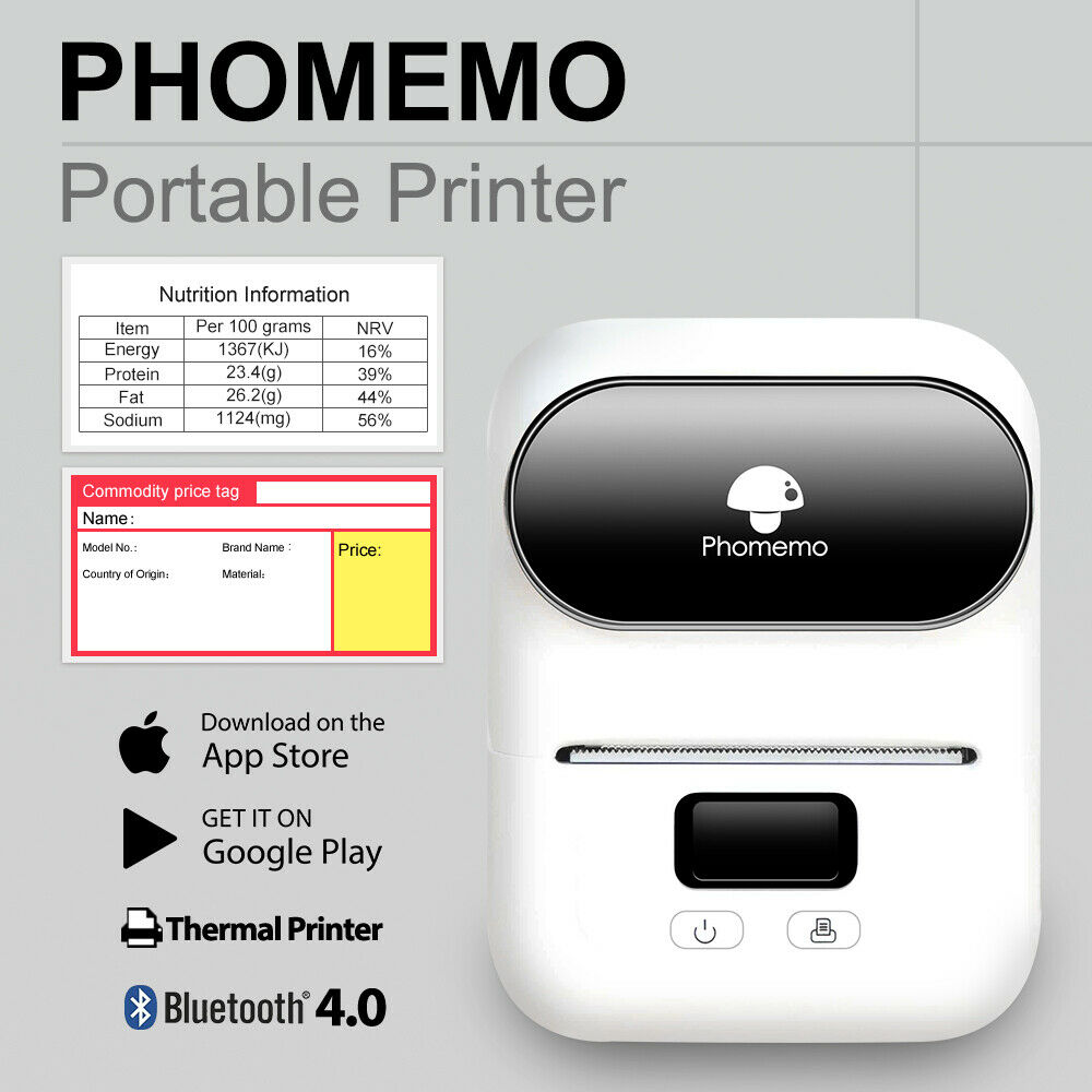 Phomemo Label Printer- Portable Bluetooth Thermal Label Maker Apply to Labeling, Shipping, Office, Cable, Barcode Label Printer image