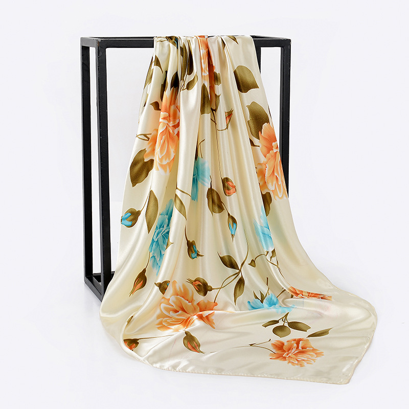 Fashion Floral Print Kerchief Silk Satin Hair Scarf For Women Square Shawls and Wraps 90*90cm 2019 Winter Neck Scarves For Lady(China)