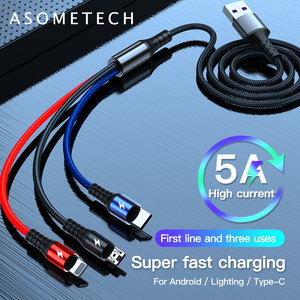 3 in 1 USB Cable for Huawei for iPhone 11 Pro Max 3in1 2in1 Super Fast Charging Cable 8 Pin Micro USB Type C Cable for Samsung