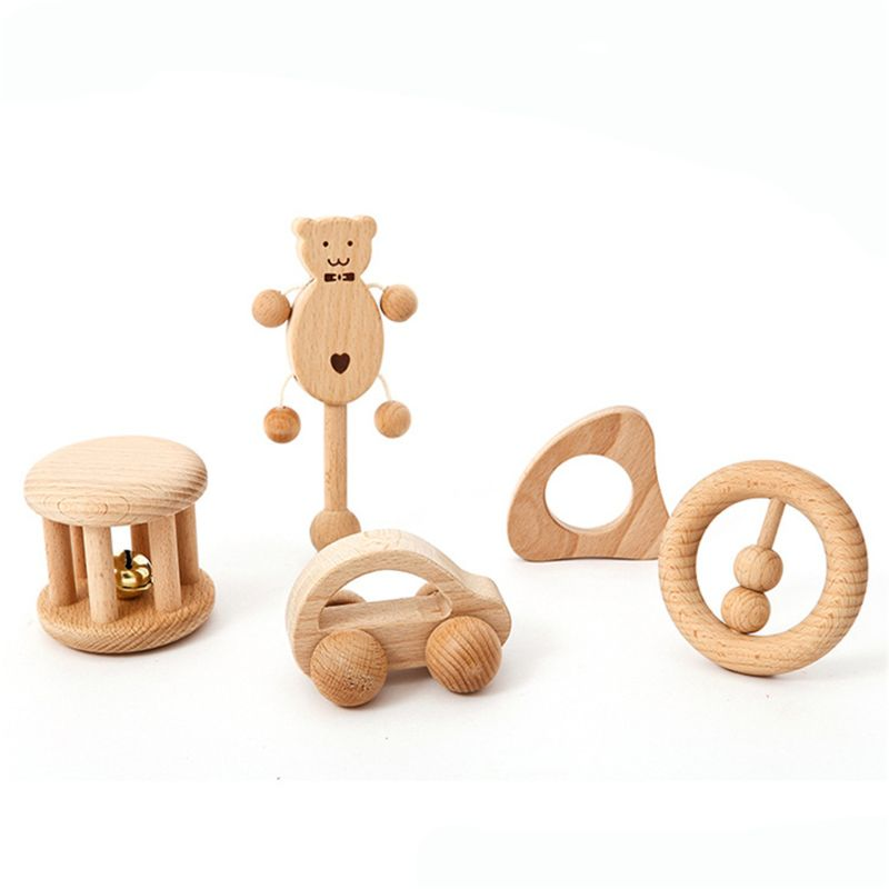 No Paint Nursing Wooden Teether Wooden Rattles Baby Toys Puzzle Toys Newborn Toddler Infant Gift T3LA