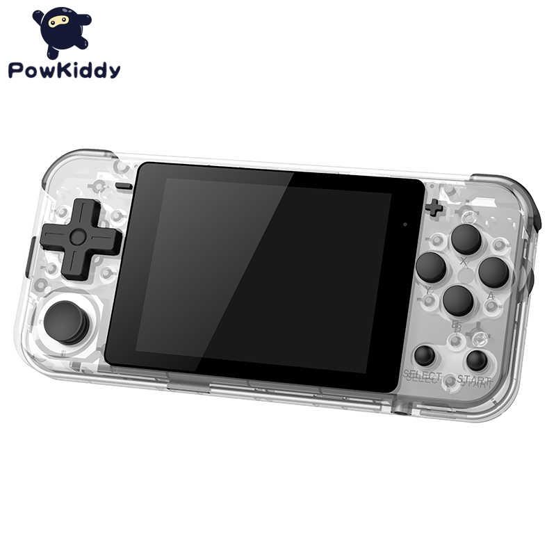 """POWKIDDY Q90 مفتوح نظام مزدوج يده ريترو لعبة وحدة التحكم 3 """"HD IPS شاشة الاطفال هدية 16 محاكاة دعم PS1 لعبة جديدة ألعاب ثلاثية الأبعاد"""