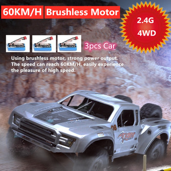 60KM/H High Speed Professional Car 4WD 2.4Ghz Remote Control RC Racing Drift Brushless Motor 3pcs Battery Desert Off-road Truck image
