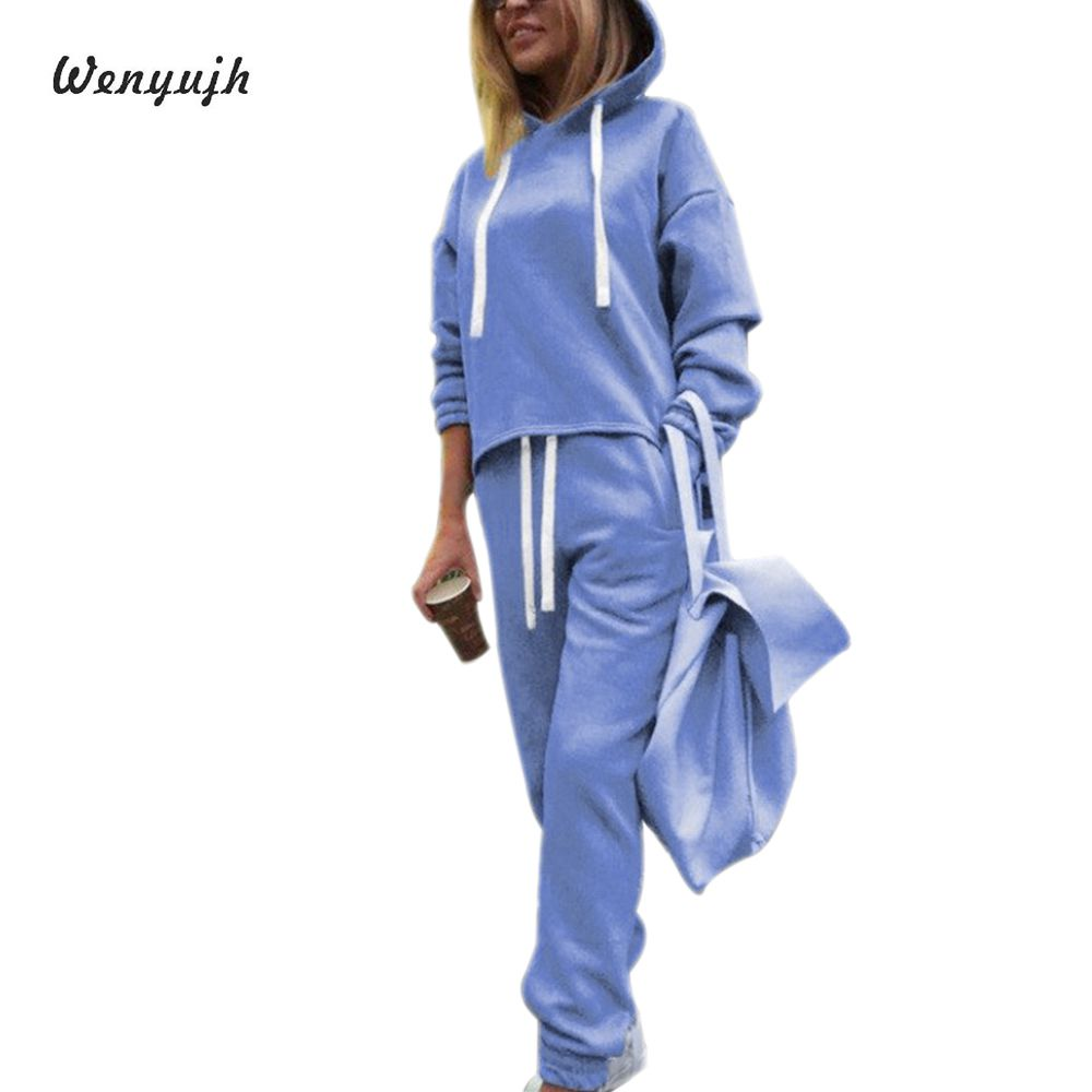 WEMYUJH 2019 Autumn Spring Tracksuit Long Sleeve Thicken Hooded Sweatshirts 2 Piece Set Casual Sport Suit Women Tracksuit Set
