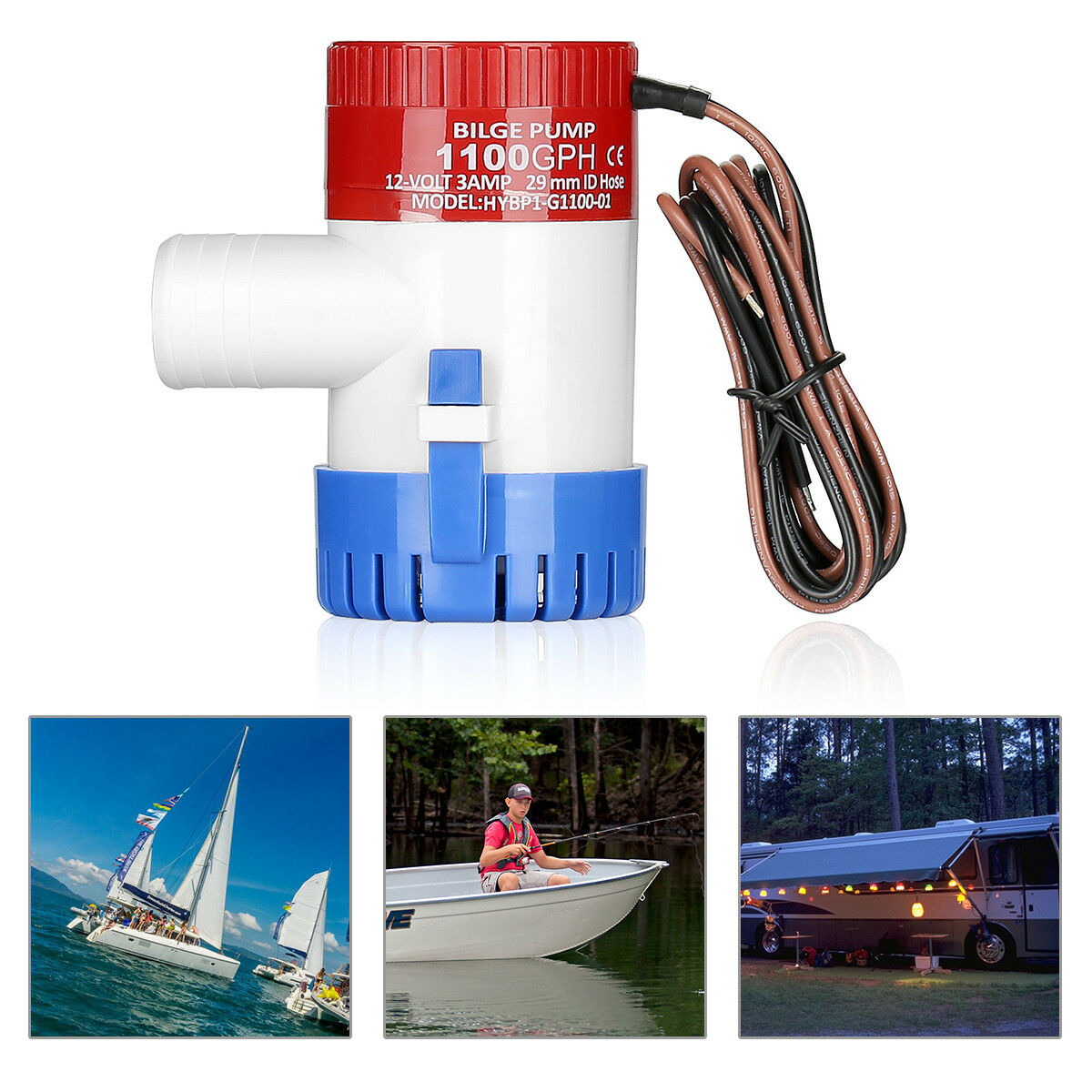 <font><b>1100</b></font> Professional 3.0A <font><b>GPH</b></font> 12V Submersible Boat Electric <font><b>Bilge</b></font> <font><b>Pump</b></font> 1-1/8 Inch Outlet For Boat <font><b>Bilge</b></font> <font><b>Pump</b></font> image