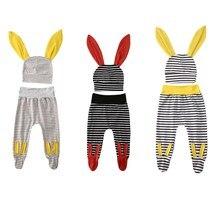 Милые полосатые наряды для новорожденных мальчиков и девочек, штаны, шапка с длинными ушками, комплект из 2 предметов, штаны с высокой талией+ шапочка, повседневные штаны для мальчиков и девочек