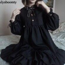 """Милое нежное женское платье весна-осень,классное платье с бантом и пуговицами формой звезда,шикарное платье японского стиля""""Лолита"""",стильное женственное платье с оборками,черного цвета,для посвесдневной жизни и косплея"""