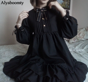 Japanese Harajuku Women Black Ruffles Dress Lantern Sleeve Lolita Style Student's Dress Sweet Kawaii Cute Bow Girl Chiffon Dress(China)