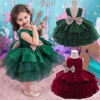 Vestido de Navidad con lentejuelas y lazo grande para bebé y niña, traje de princesa 1er para fiesta de cumpleaños, vestido de boda, Palacio, noche, 3M-5T