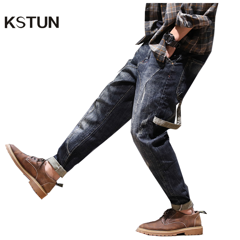 New Arrivals Fashion Harem Jeans Autumn Men Pockets Designer Loose Fit Tapered Moto Jeans Casual Denim Pants Long Trousers 40